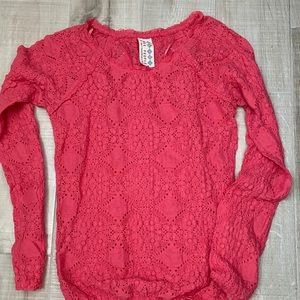 Free People Knit Top Textured Sz SP Long Sleeve